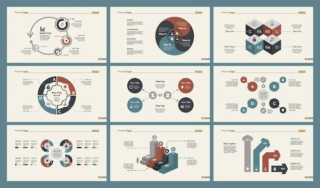 Six management charts slide templates set