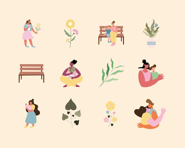 여섯 엄마와 설정된 아이콘 그림