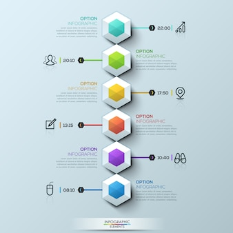 Six multicolored hexagons connected with text boxes and pictograms, infographic template