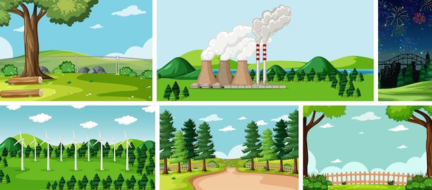 Sei scene della natura con luoghi diversi