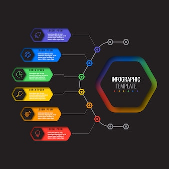 6つのオプションは、六角形の要素を持つレイアウトインフォグラフィックテンプレートをデザインします。パンフレット、バナー、年次報告書、プレゼンテーションのビジネスプロセス図