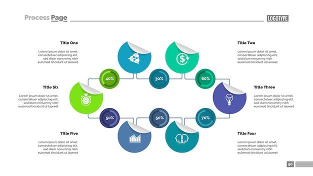 Modello di grafico a percentuale di sei opzioni per la presentazione. dati aziendali