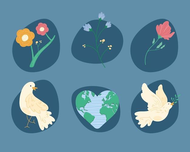 Six pacifism world set icons