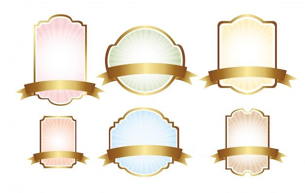 Six pastel labels