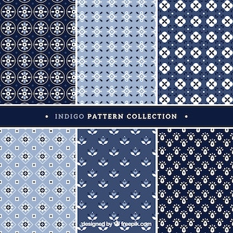 Six patterns indigo style