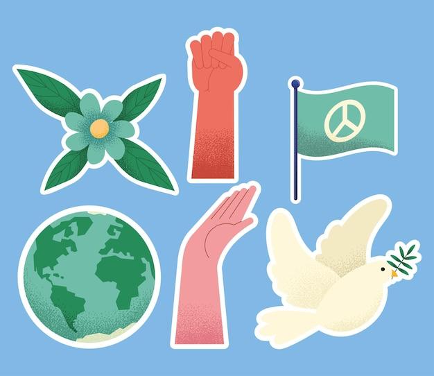 Six peace day set icons