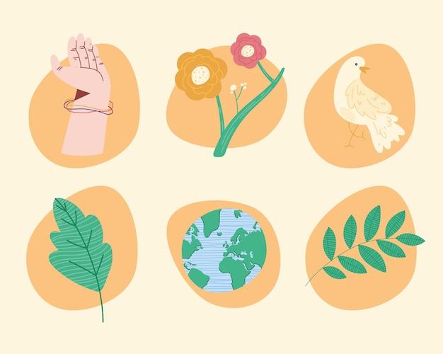 6つの平和の世界のセットアイコン