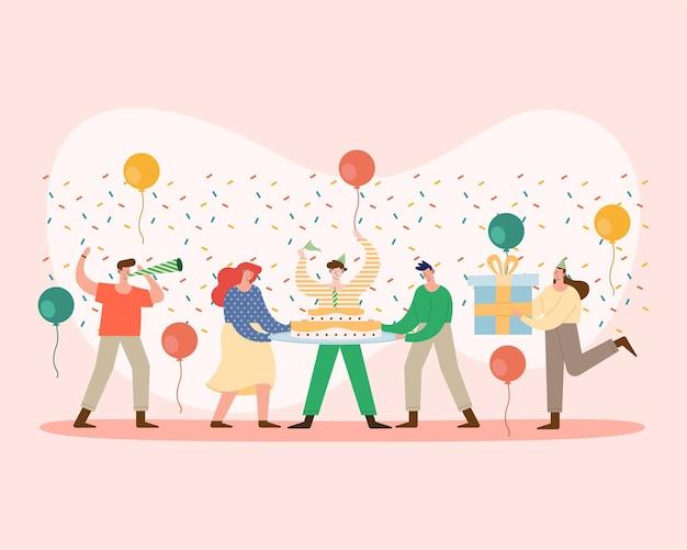 생일 파티 캐릭터를 축하하는 여섯 사람
