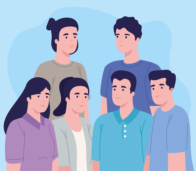Six persons characters