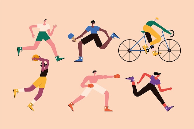 Six persons practicing sports