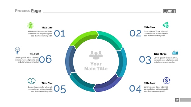 6段階のサイクルダイアグラムスライドテンプレート。ビジネスデータ。グラフ、チャート