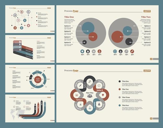 Sei diagrammi di pianificazione set di modelli di diapositive