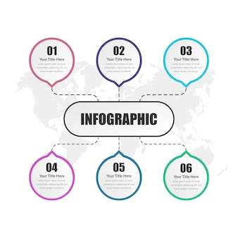 Six point infographic element business strategy with number