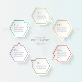 Six process infographics and icons for present business concept.