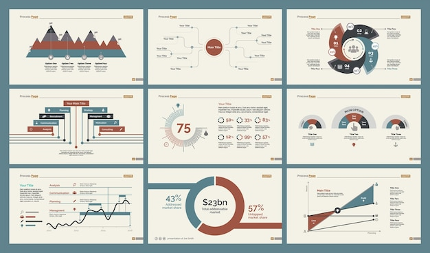 Six production charts slide templates set