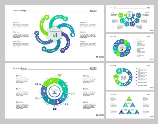Six production slide templates set