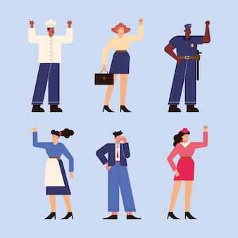 Six professionals workers characters group