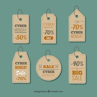 Six realistic cyber monday labels