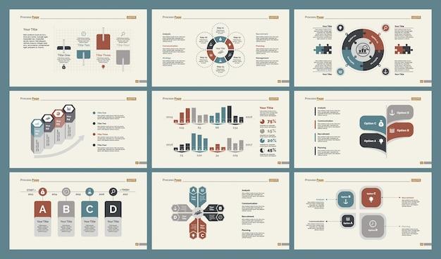 Six research charts slide templates set