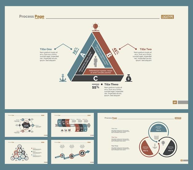 Sei diagrammi di ricerca set di modelli di diapositive