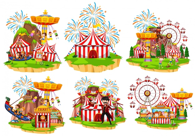 Six scenes of circus with people and rides