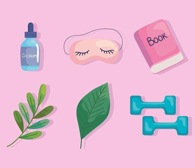 Six self care icons