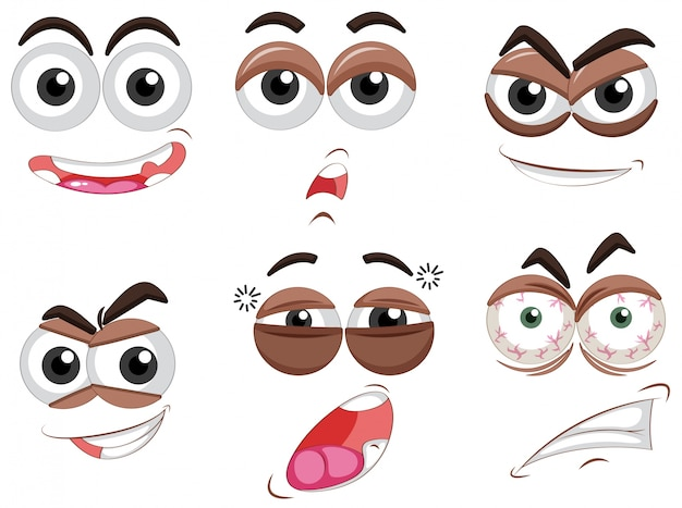 Six sets of eyes with different emotions
