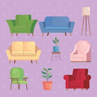 6つのソファと家具