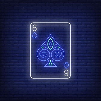 Six of spades playing card neon sign.