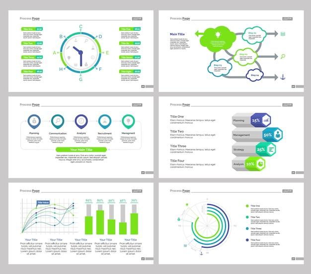 Six statistics slide templates set