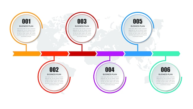Six step business infographic element   design