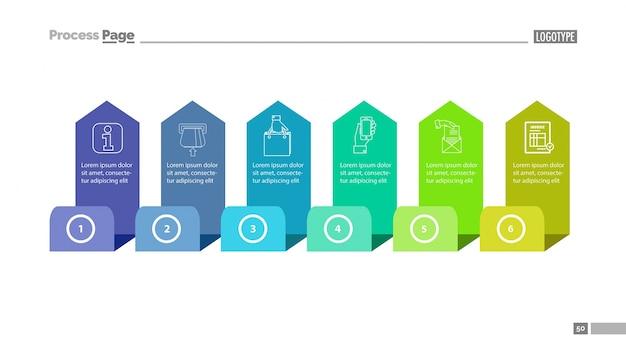 Six step process chart slide template