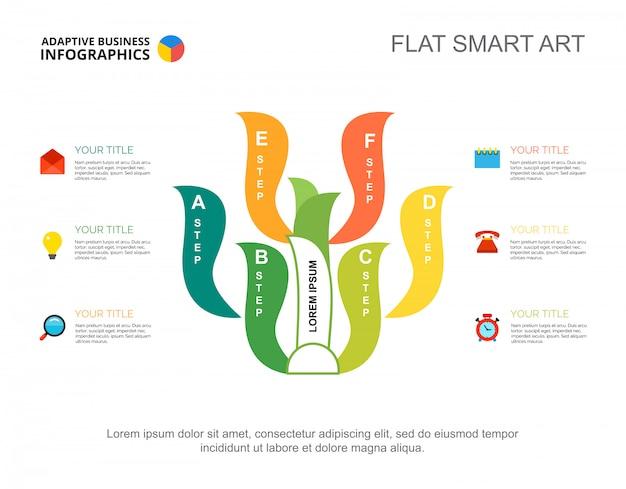 6ステップのツリーチャート。フロー図によるクリエイティブなプレゼンテーション