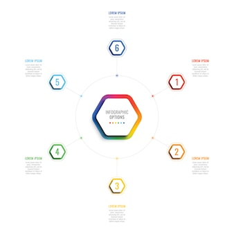 Six steps 3d infographic template with hexagonal elements. business process template with options for brochure, diagram, workflow, timeline, web