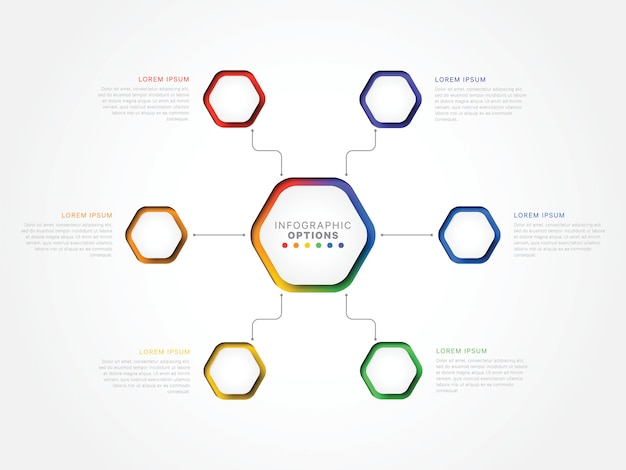 Six steps 3d infographic template with hexagonal elements