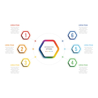 Six steps 3d infographic template with hexagonal elements.