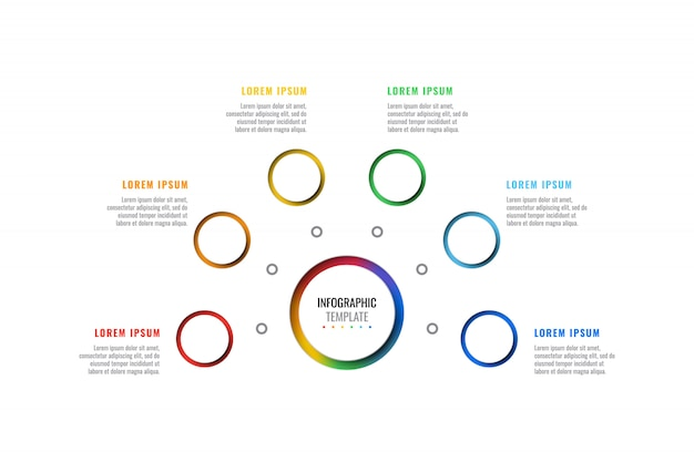 Six steps design layout infographic template with round 3d realistic elements.