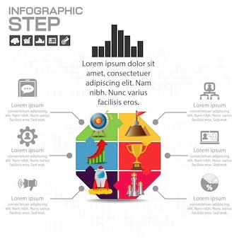 Six steps diagram template