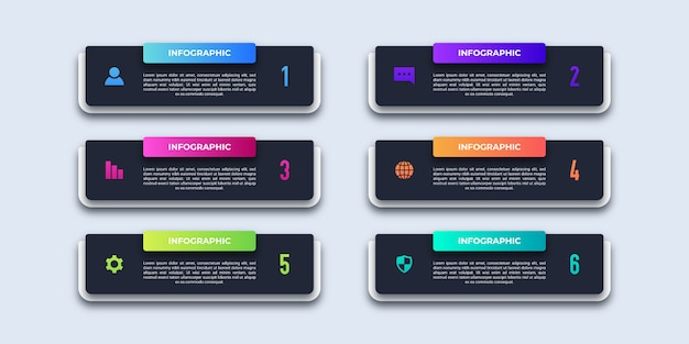 Six steps modern business infographic
