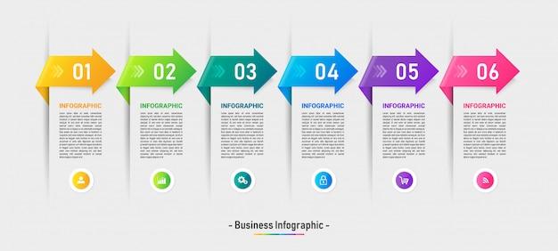 Шесть шагов timeline инфографики шаблон.