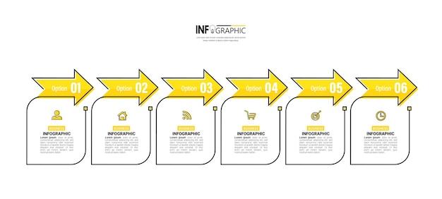 6ステップのタイムラインインフォグラフィック。