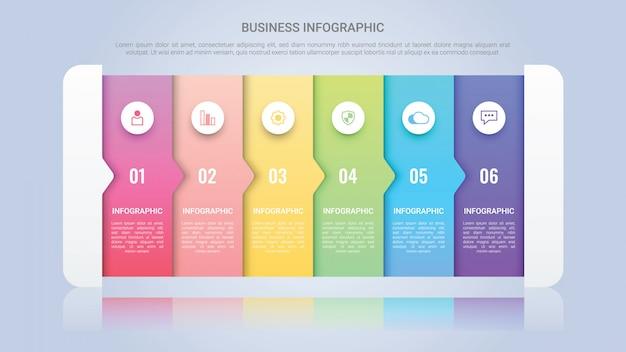Современный инфографический шаблон для бизнеса с многоцветной этикеткой six steps