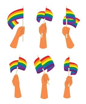 6つのスタイルの手がlgbt活動のためのレインボーフラッグを保持します