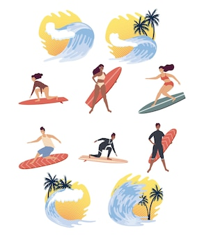 Six surfers and waves