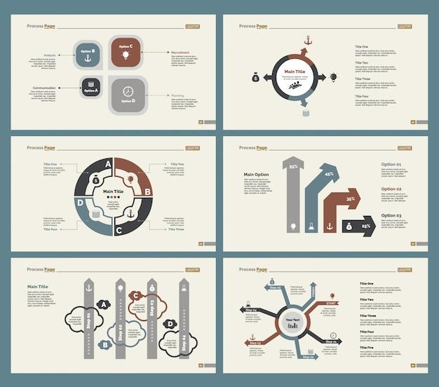 Six teamwork charts slide templates set
