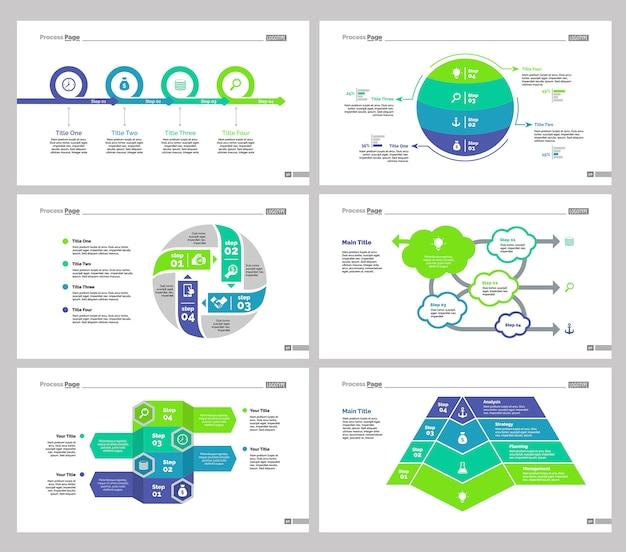 Sei set di modelli di diapositiva di teamwork