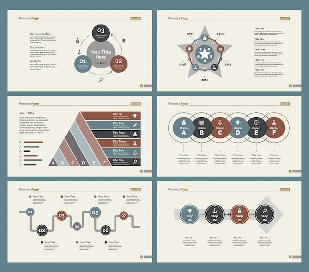 Six training charts slide templates set
