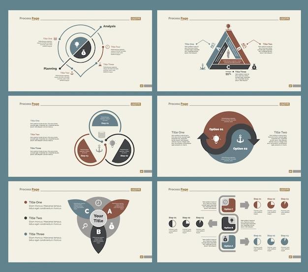 Six training slide templates set