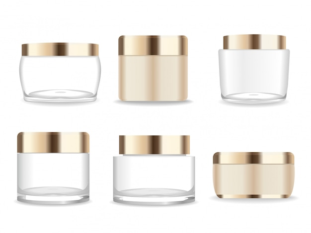 Six transparent and golden cosmetic packages ready for our design.