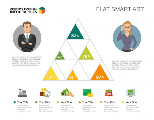 Six triangles chart slide template